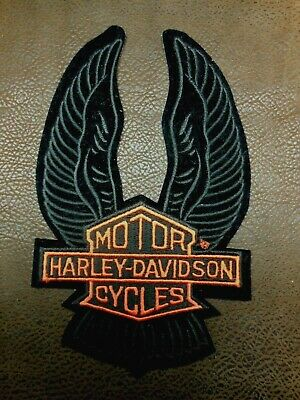 "Vintage Harley Davidson Motorcycles Patch Lg 8X5"" Eagle Up Wings Bar Shield"