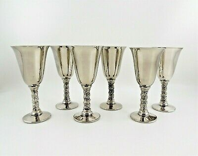 6 Roma S.L. E.P. Brass Silver Plated Cordial Goblets Madrid Spain Grapevine Stem