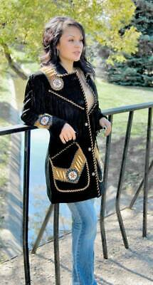 Women Black Western Fringed Queen Coat - Hand Beading, Lacing and Long Fringe