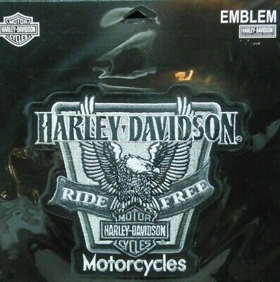 """Harley Davidson Motorcycles Ride Free Patch 6.25""""X5"""" Large Up Wings Bar Shield"""