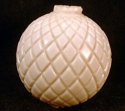 Antique Early 1900's 5 Inch White Milk Glass Quilted Diamond Lightning Rod Ball
