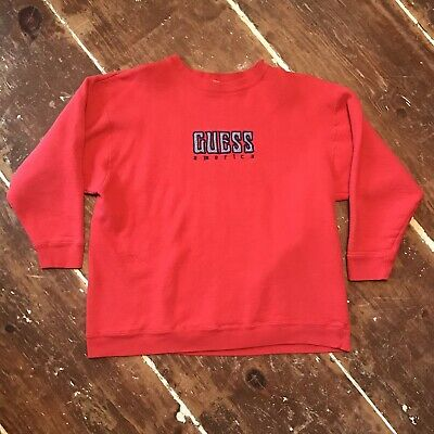 Vintage 80s Guess Jeans America Sweatshirt Womens OSFA Oversized Slouch Crewneck