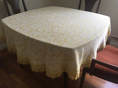 Vintage Bates Round Tablecloth Yellow/Gold White Damask Table Covering Bedspread
