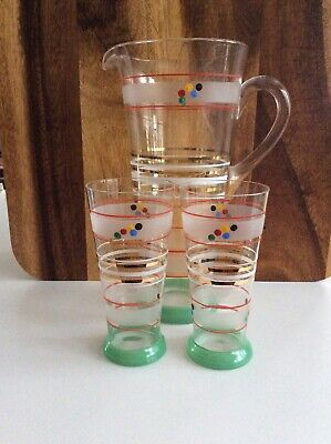 Retro Tall Jug Pitcher & 2 Tumblers Fine Glasses 1950s 1960 Cocktail Set Collect