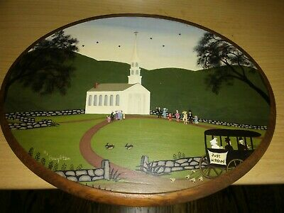 Portrait Wood Painting Vintage church wedding (just hitched) by RJ Houghton