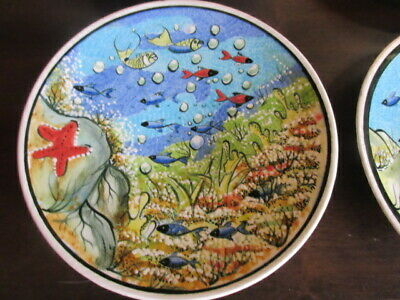 Vintage Set of 8 Turkish Wall Fish Plates Hand Painted by Nefen SAAT ALL UNIQUE!