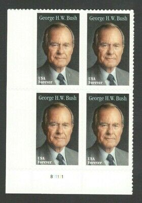 5393 George H. W. Bush Plate Block Mint/nh Free Shipping