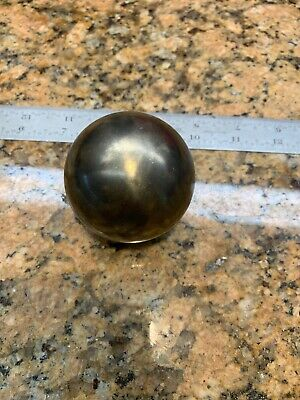 "2-1/3"" Diameter Solid Brass Sphere Ball Bearing 30 Ounce Marble w/ Stand L626"