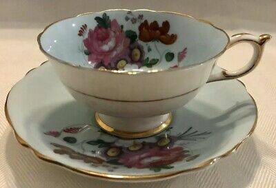 PARAGON Bone China FOOTED TEA CUP & SAUCER SET Blue with Pink Rose ENGLAND
