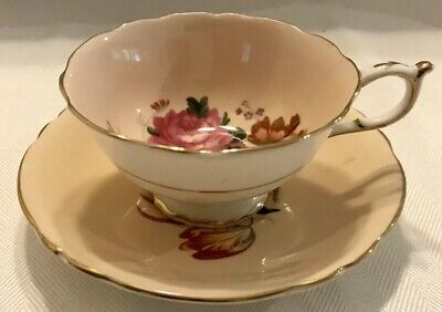 PARAGON Bone China FOOTED TEA CUP & SAUCER SET Peach with Pink Rose ENGLAND
