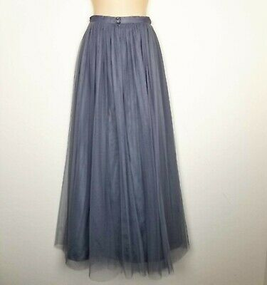 ec0543fc24 Jenny Yoo Anthropologie Long Maxi Skirt Size 8 Gray Tulle Party Evening