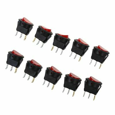 10 x Reverse Rocker Switch SPST lever With Red LED Auto Car W7M7