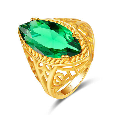 Gentle Solitaire Style Marquise Emerald Gemstone 18K Yellow Gold Plated Ring
