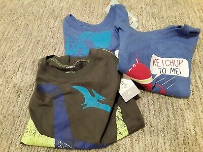 Carters Cat And Jack T Shirt Lot 4T Blue Dinosaur Ketchup Map