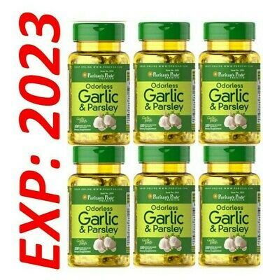 Odorless Garlic and Parsley 6 X 100 = 600 softgels Antioxidant Pills Expire 2021
