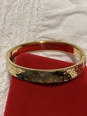 VINTAGE 1975 22ct GOLD PLATED 916 STERLING FORGET ME NOT FLOWERS BANGLE 💫💫💫