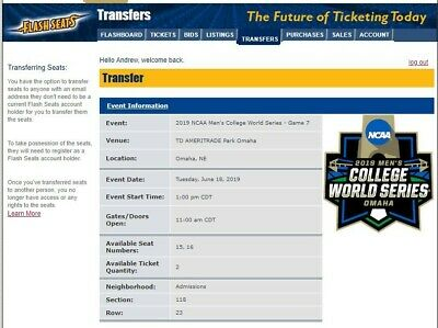 Men's Baseball College World Series  2 TICKETS: SECTION 118; ROW 23; SEATS 15,16