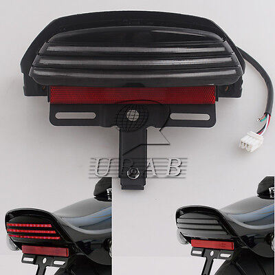 Smoke Tri-Bar Fender LED Tail Light Bracket For Harley Softail FXST FXSTC 06 up