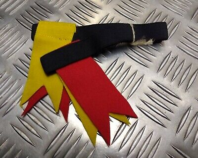 Genuine Vintage Kilt Hose Garter Tabs Flashes Yellow & Scarlet 1960s NEW NOS