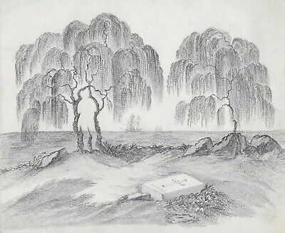 Antique c1830 Georgian Victorian Drawing MOURNING Landscape Napoleon Willows