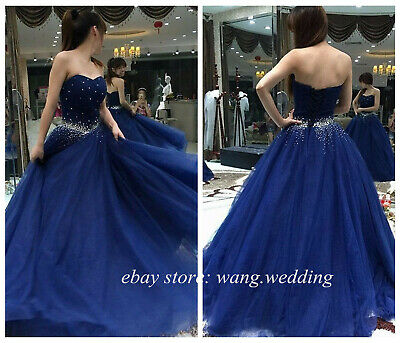 Royal Blue Beaded Sweetheart Tulle Prom Dresses Formal Gowns Party Evening Dress