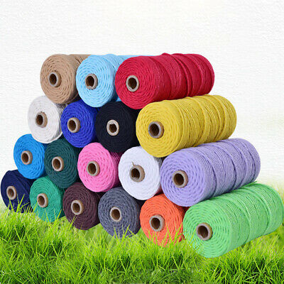 3mm*100m Macrame Rope Cotton Twisted Cord Hand Craft String DIY HomeDecor
