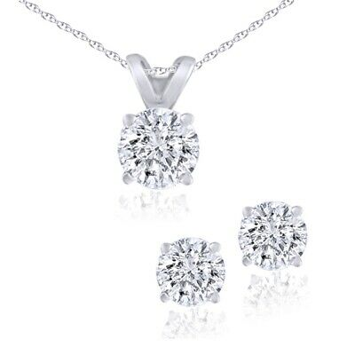 Certified Diamond Solitaire Necklace & Stud Earrings Set 3/4Ct 14KWhite Gold
