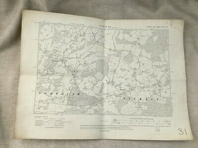 1910 Antique Map of East Sussex Northiam Village Beckley Bixley Wood Original