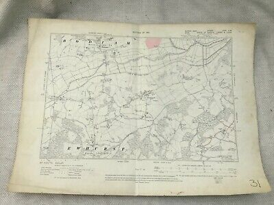 1910 Original Antique Map of East Sussex Bodiam Castle Village Ewhurst