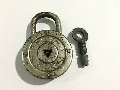 Old Antique iron padlock with key unusual key hole & key D.R.P 7 levers Germany