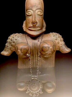 Huge Vintage Pre-Columbian Mayan Aztec God Clay Statue Terra Cotta Sculpture Mex