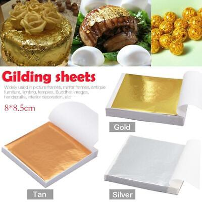 100Pcs Sheets Gilding Art Craft Gold Silver Copper 8x8.5cm Leaf Foil Paper