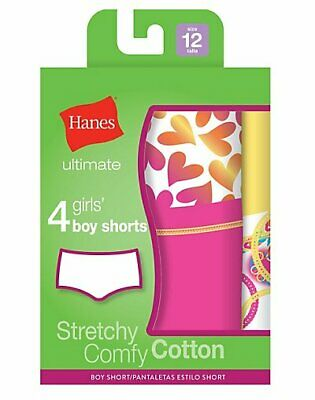 Hanes Girls Boy Shorts 4-Pack Underwear Ultimate TAGLESS Cotton Stretch Tag-free