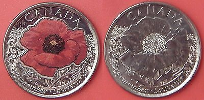 Brilliant Uncirculated 2015 Canada Poppy Color & Plain Quarters From Mint's Roll