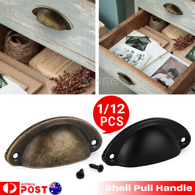 1/12 Kitchen Cupboard Door Cabinet Cup Drawer Retro Shell Pull Handle Furniture