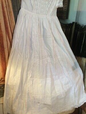 Edwardian Lace And Ruffled Christening Gown. Pretty. 22chestx38lgth