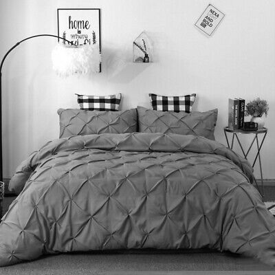 Diamond Pintuck Pleated Duvet Cover with Pillowcase Bedding Set Charcoal White