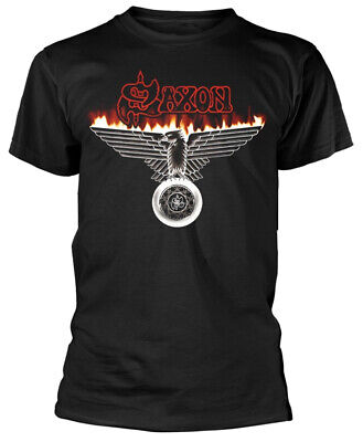 Saxon 'Burning Wheels Of Steel' (Black) T-Shirt - NEW & OFFICIAL!