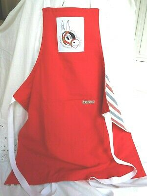 New bright red full size chef's apron Muffin the Mule High quality, lined Unisex