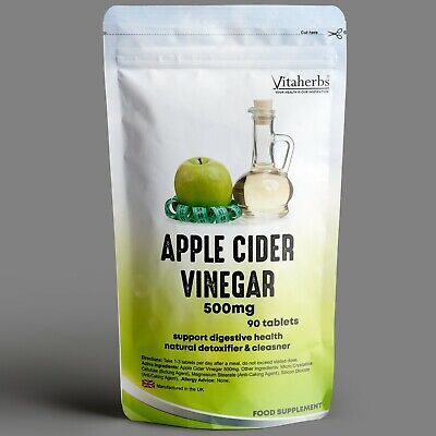 Apple Cider Vinegar 500mg Tablets - Vitaherbs | Weight Loss | Detox & Cleanse