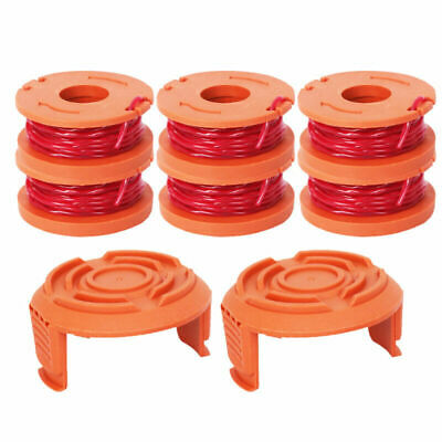 6x Line Spool Strimmer Head Base Base Cap + Carrete y línea para Worx GT Trimmer