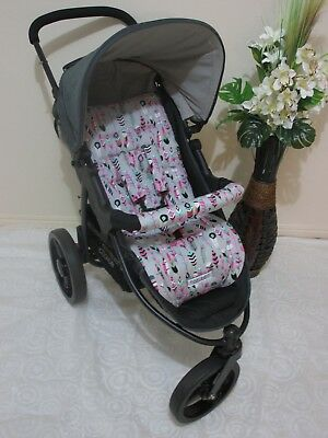 Handmade pram liner set,handle bar covers-Pink feathers-100% cotton*Funky babyz