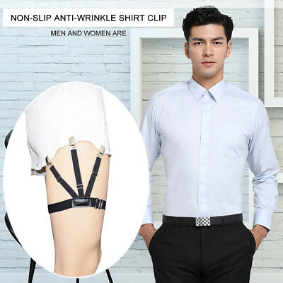 1 Pair Men Shirt Stays Belt with Non-slip Locking Clips Keep Shirt Tucked Leg ZS