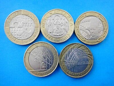 UK GREAT BRITAIN  5x  £2 POUNDS COINS  CIRCULATED CONDITION