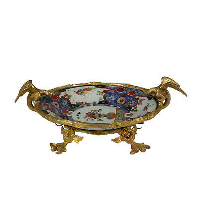 Chinese Imari Plate Porcelain Gilded Brass Made in Cina 1600-1700