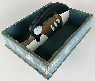 Antique Primitive Wooden Painted Tote Caddy Utensil Tray Blue mallard duck