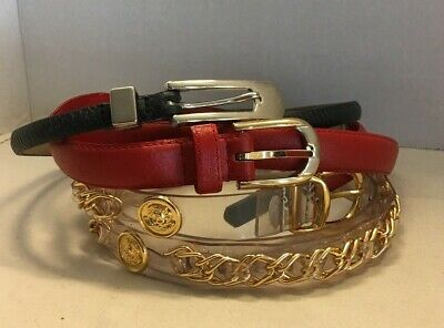Lot of 3 Vintage 80's Belts Gold Tone Chain and 2 Leather Black and Red