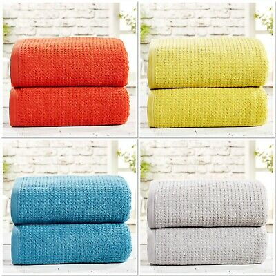"Rapport 100% Cotton ""Waffle"" 2 Pack Bath Sheets Towel 4 Colours Available"