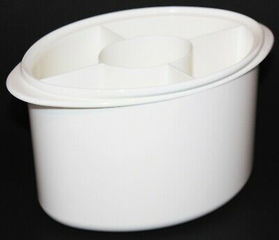 Tupperware Utensil Caddy Dish Dryer Divided Silverware Holder White 3610