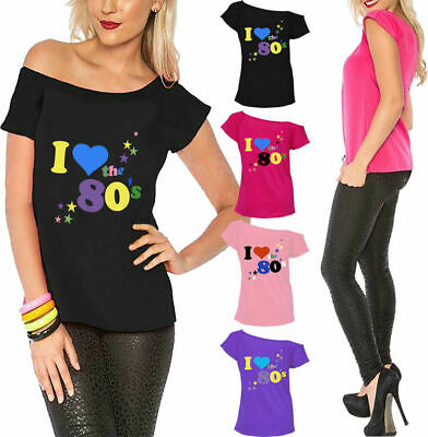 Retro Fancy Dress Party Top Loose Fit I Love The 80s Pop Star Ladies T-Shirt